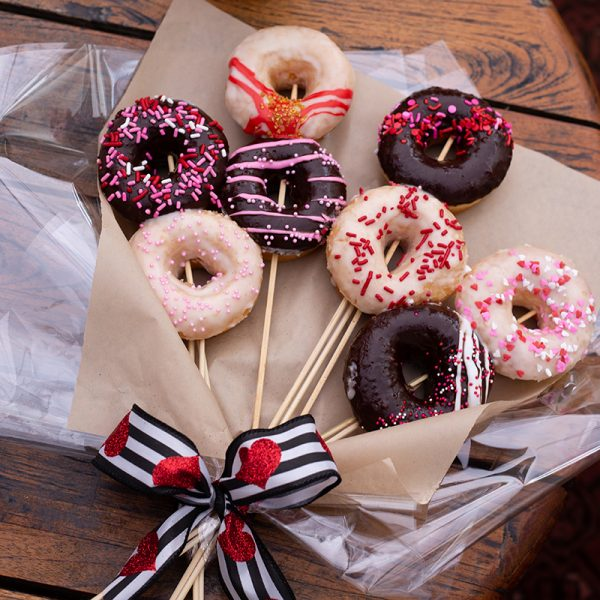 Devil's Dozen Valentine's Day Bouquet of 8 Mini Donuts